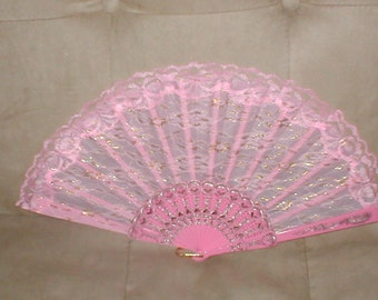 Vintage Pink Lace Folding Fan