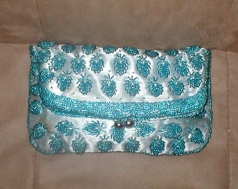 Vintage Turquoise Blue Satin Beaded Clutch Purse