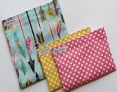 Reusable Sandwich Snack Bag Set Blue Arrows Yellow Pink Polka Dots Woodland Sandwich Bags