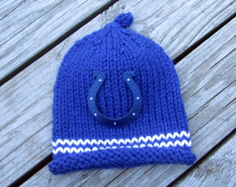 INDIANAPOLIS COLTS, Colts Baby Hat, Knit Baby Hat, Colts Baby Hat, Colts Hat, Hand Knitted Baby Hat, Football Hat, Knitted Baby Hat