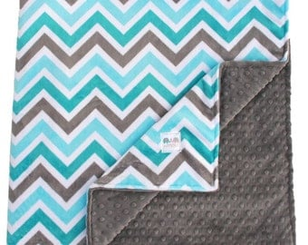 Minky Baby Blanket Teal Gray Double Minky Blanket or Lovey - Baby Shower Gift, Throw Blanket, Toddler Bedding, Nursery Bedding