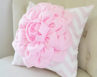 Personalised Flower Chevron Pillow, baby nursery decor, baby room decoration, personalized nursery colors with fabric flower, pom pom decor