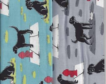 Mr Peabody at the Park I Spy Black Labrador Retriever Dog Fabric By Fat Quarter