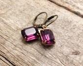 vintage amethyst rhinestones   february birthstone   purple   wedding   bridal party   dames and divas earrings