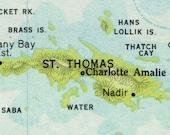 RESERVED for kkhorton1 - st. thomas vintage map keychain