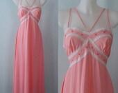 Vintage Nightgown, Vintage Nightgowns, 1970s, Simpsons, Pink Nightgown, Romantic, NWT, Vintage Pink Nightgown, Vintage