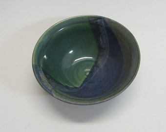 Cereal bowl / soup bowl / pottery / handmade / wheel thrown / green / blue bowl / high fired