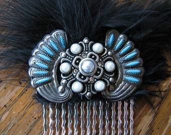 Art deco hair comb | silver headpiece | faux turquoise | December birthstone