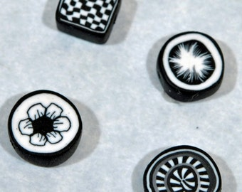 Polymer Clay Beads - Set of 4 in Black and white