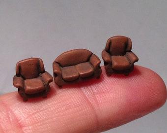 Micro scale brown leather sofa