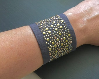 Wide Cuff Studded Bracelet Gray Bracelet Sexy Accessory Fashion Trend Large Bracelet Big Statement Jewelry Summer Look Beach Fashion Unusual