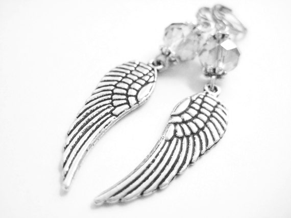 Sterling Silver Angel Wing Earrings - Medieval Wedding - Crystal Dangle Earrings - Silver Drop Earrings - Victorian Gothic Jewelry