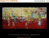 "15% OFF /ONE WEEK Only/ Huge Deep Texture Abstract ""The Impulse"" by Paul Juszkiewicz Red Texture abstract"