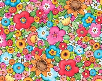 Mottos to Live By Floral Cream - Mary Engelbreit - Half Yard