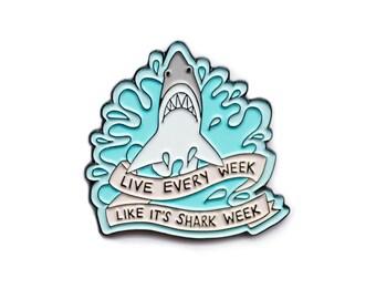 Live every week like it's shark week 30 Rock enamel lapel pin