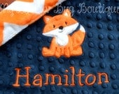 Fox baby blanket personalized small- Navy blue and orange chevron fox- lovey blanket