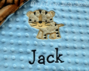 Personalized minky baby blanket- baby blue and camel with tiger print- lovey blanket
