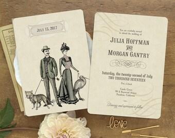 Wedding Invitation, Vintage Wedding, Wedding Invitations, Goth Wedding, Steampunk Wedding, Victorian Wedding, Alternative Wedding