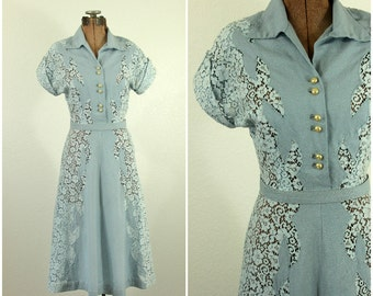1940's Blue Lace Dress XS S