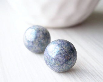Nickel Free Earrings - Grey Posts, Titanium Jewelry, Silver, Vintage Glass, Blue, Purple, Multicolor Studs
