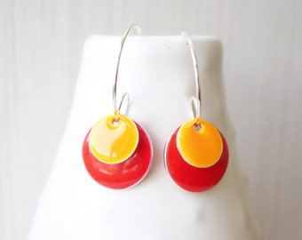 Red Earrings - Enamel Jewelry, Orange, Silver Hoops, Simple, Modern, Geometric, Drop, Contemporary, Simple