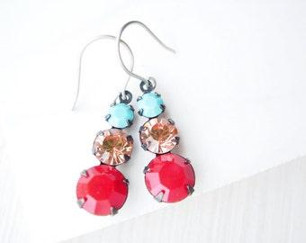 Titanium Dangle Earrings - Turquoise Blue, Peach, Red, Rhinestone Drops, Nickel Free Earwires, Sparkle, Aqua, Vintage Components