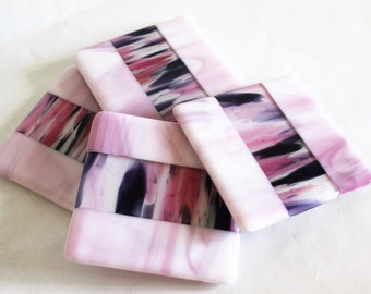 GLASS DRINK COASTERS - Pink Medley Fused Glass Coaster Set, Gift for Bride, Gift Under 25, Gift for Her, Hostess Gift, Pink Black Home Decor