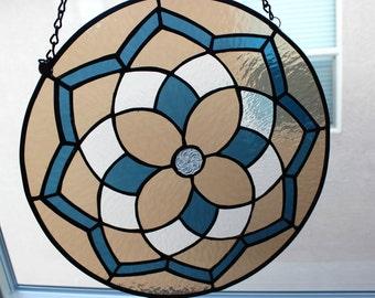 STAINED GLASS SUNCATCHER -Blue Brown Decorative Window Panel, Large Suncatcher, Stain Glass Window, Window Decoration, Round Glass Medallion