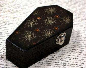 Spider web Dome Coffin, black coffin, Halloween decoration, Candy Box, Kids, Wooden Coffin Box, Casket, Halloween Decor, wood casket