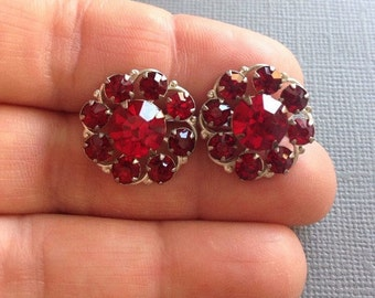 Ruby Red Earrings Round Rhinestone Screw Back