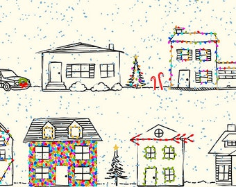 Christmas Houses on Ecru - Naughty or Nice from Ink and Arrow - Full or Half Yard Decorated Houses