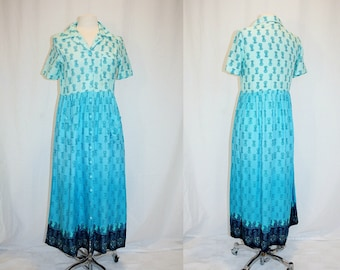 1990's Blue and Aqua Print Baby Doll Dress Small Vintage REtro 90s Day Short Sleeves Lounge Cottage Chic Maxi Rayon Paisely