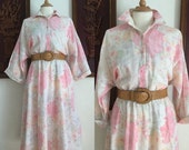 ON SALE Vintage 70s / American Shirt Dress / Floral / Cotton / Day / Dress / Large