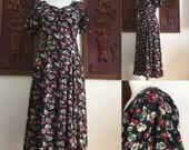 ON SALE Vintage 90s / Rampage / Grunge / Black / Floral / Flutter Sleeve / Laced Back / Dress  /  Small / Size 5