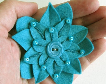 Turquoise on Turquoise Felt Flower Pin with Vintage Turquoise Button, Hand Embroidery and Turquoise Pearl Beads