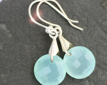 Sea Frost - Faceted Aqua Blue Chalcedony Sterling Silver Earrings