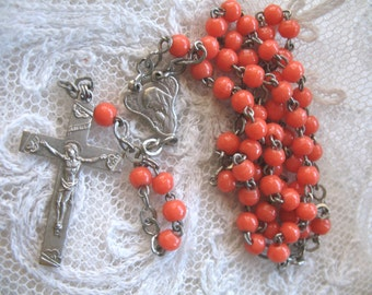 Vintage Small Coral Glass Bead Rosary