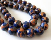 RESERVED Mix Navy Blue Orange Round Beads - Composite Quartz with Gold Matrix - Natural Gemstone Beads - 12mm - DIY Jewelry Projects