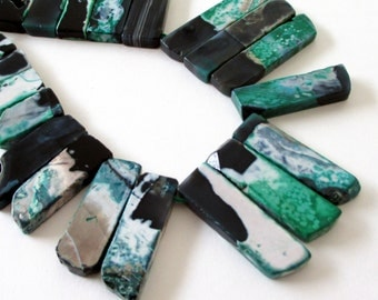 Green Black Point Striped Agate - Irregular Shape Spike Gemstone - Long Flat Double Sided Beads - Top Drilled - 8 Pcs - DIY Bohemian Jewelry