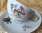 Poison Skull and Crossbones Tea Cup and Saucer Set