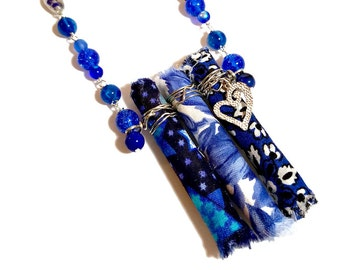 Cobalt Long Blue Necklace, Fabric Necklace, Fiber Art, Wearable Art, Upcycled Jewelry