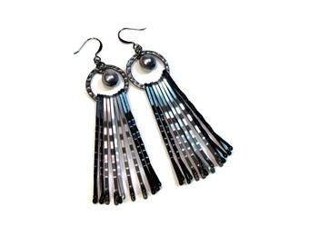 Modern Gray Pearl Upcycled Earrings, Gunmetal, Black, Repurposed Jewelry