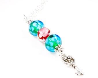 """Boho Lampwork Bead Necklace - Teal - Bead Necklace - 24"""""""