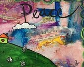 Peace, Small Painting, Postcard Sized Original Acrylic, Whimsical Mixed media painting
