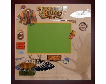 BORN TO HUNT Pre-made Memory Album Page (Gallery Wood Shadow Box Frame Sold Separately)