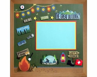 THE GREAT OUTDOORS Pre-made Memory Album Page (Gallery Wood Shadow Box Frame Sold Separately)