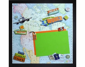 AROUND THE WORLD Pre-made Memory Album Page (Gallery Wood Frame Sold Separately)