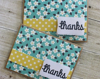 SALE Homemade Card - Thanks - Thank You - Set of 2