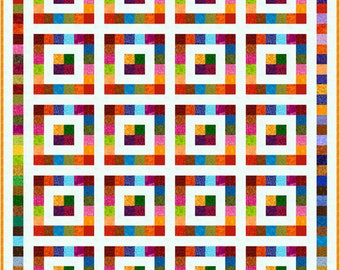 """SQUARESVILLE - 81""""x 67"""" King Single or 67""""x 53"""" Single - Quilt-Addicts Pre-cut Patchwork Quilt Kit or Finished Quilt"""