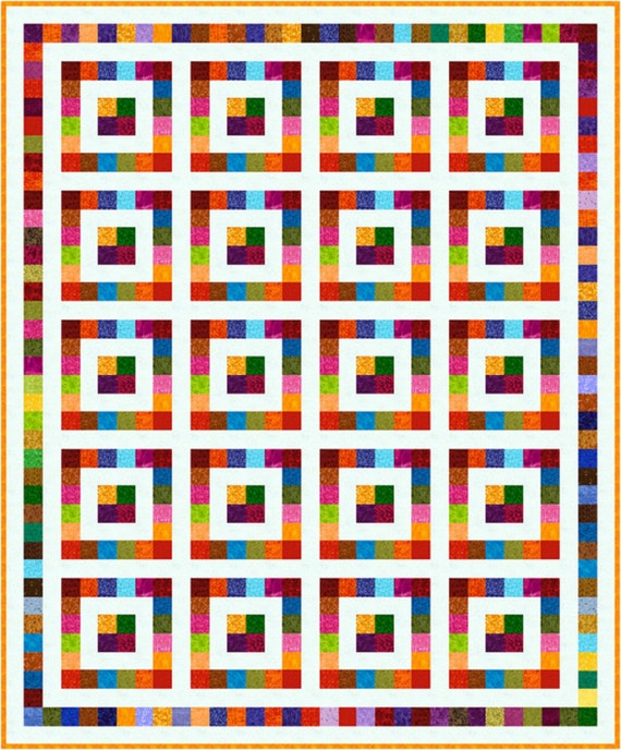 "SQUARESVILLE - 81""x 67"" King Single or 67""x 53"" Single - Quilt-Addicts Pre-cut Patchwork Quilt Kit or Finished Quilt"